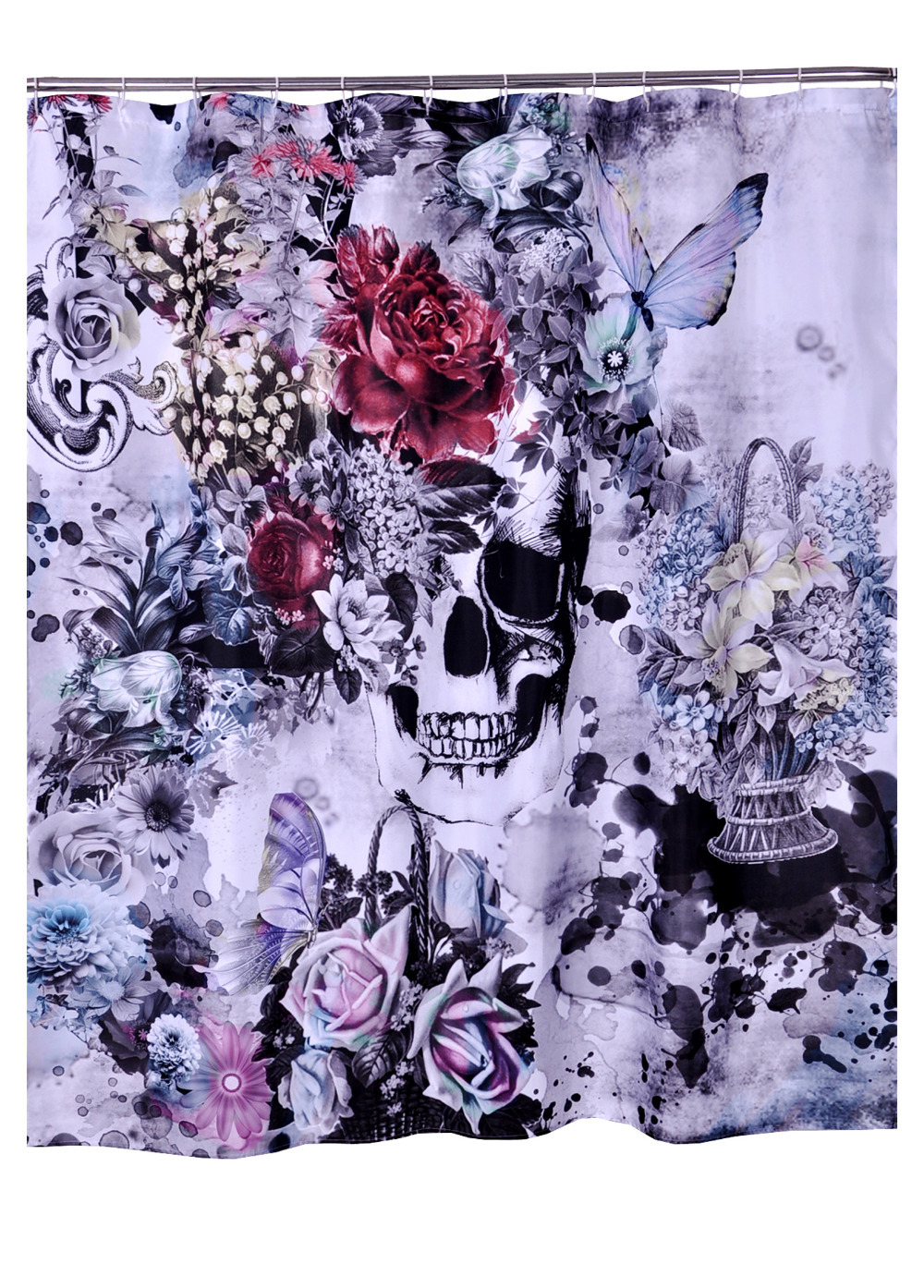 Majestic Bathroom Products Polyester Fabric Printed Flower Skull Butterfly Showercurtains Liner Waterproof Washable Curtaion Shower Curtains Fromhome Bathroom Products Polyester Fabric Printed Flower
