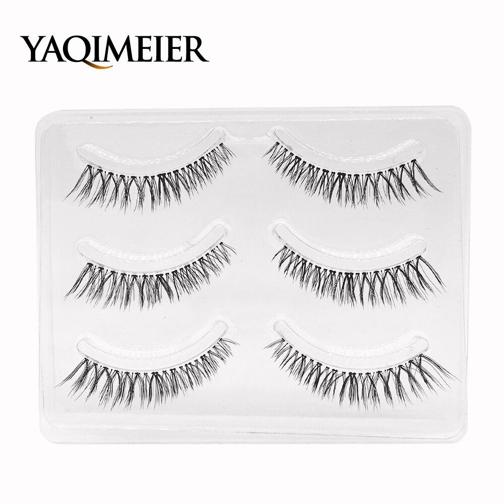 YAQIMEIER 3 Pairs / Set Natural Black Lashes Korean Trendy Synthetic Hair Women Individual False Eyelashes