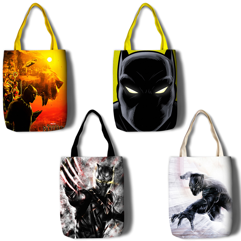45*35cm Black Panther Canvas Gift Bags Shopping Bag for Party Decor High Quality