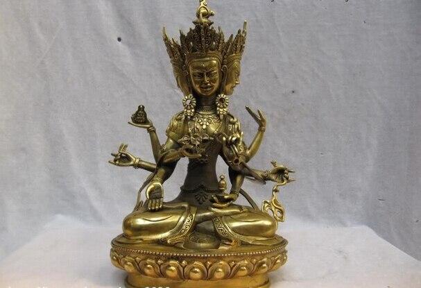 150401 S0706 12 Tibet laiton bouddhisme Fane trois Face huit bras Ushnisha Vijaya bouddha Statue