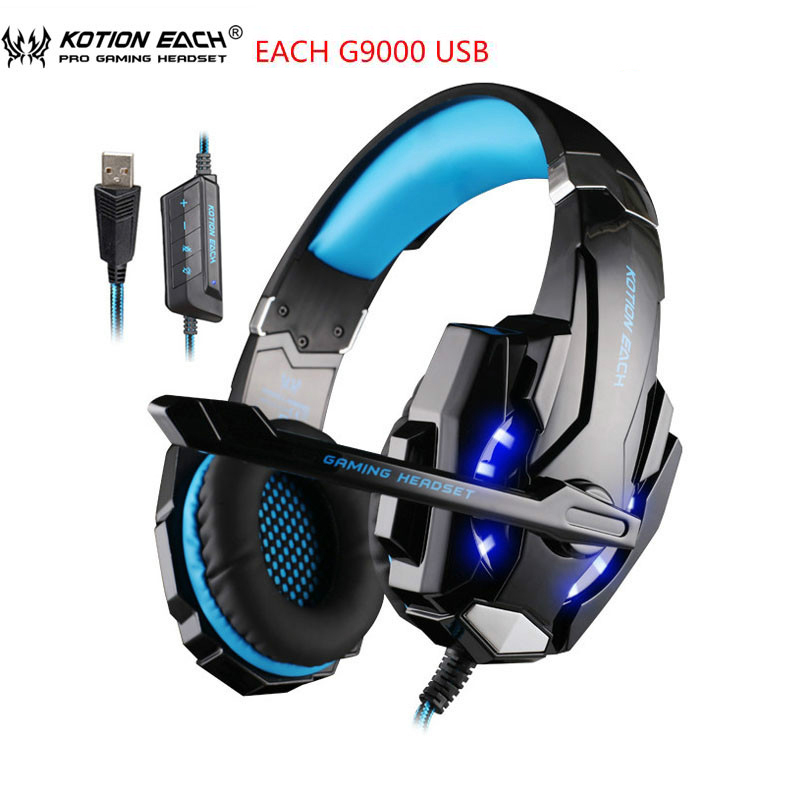 Kotion Each Gaming Headset 7.1 USB Surround Sound PC Headset Gamer 7.1 Gaming Headphone For Computer With Microphone LED Light original pc900 gaming headset 7 1 surround sound channel usb wired headphone with mic volume control best casque for gamer