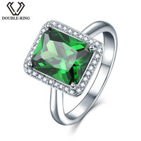DOUBLE R Female Luxury Created Emerald Ring 925 Sterling Silver Vintage Wedding Rings For Women Fine