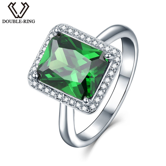 DOUBLE-R Created Emerald Gemstone 925 Sterling Silver Ring Engagement Ring for Women