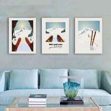 Póster Artístico de lienzo de deportes de invierno para esquiar, póster de viaje Vintage, esquí en montaña nevada, Impresión de invierno, decoración del hogar