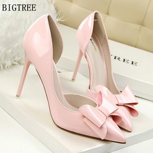 BIGTREE 2018 fashion delicate sweet bowknot high heel shoes side hollow pointed women pumps
