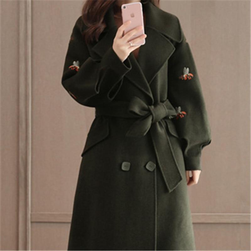 Laine Plus Mince Coréen Vêtements Longues Taille 4xl 2019 5xl Streetwear Broderie Manteau Noir Manches La Style Femmes Hiver wFqg8H
