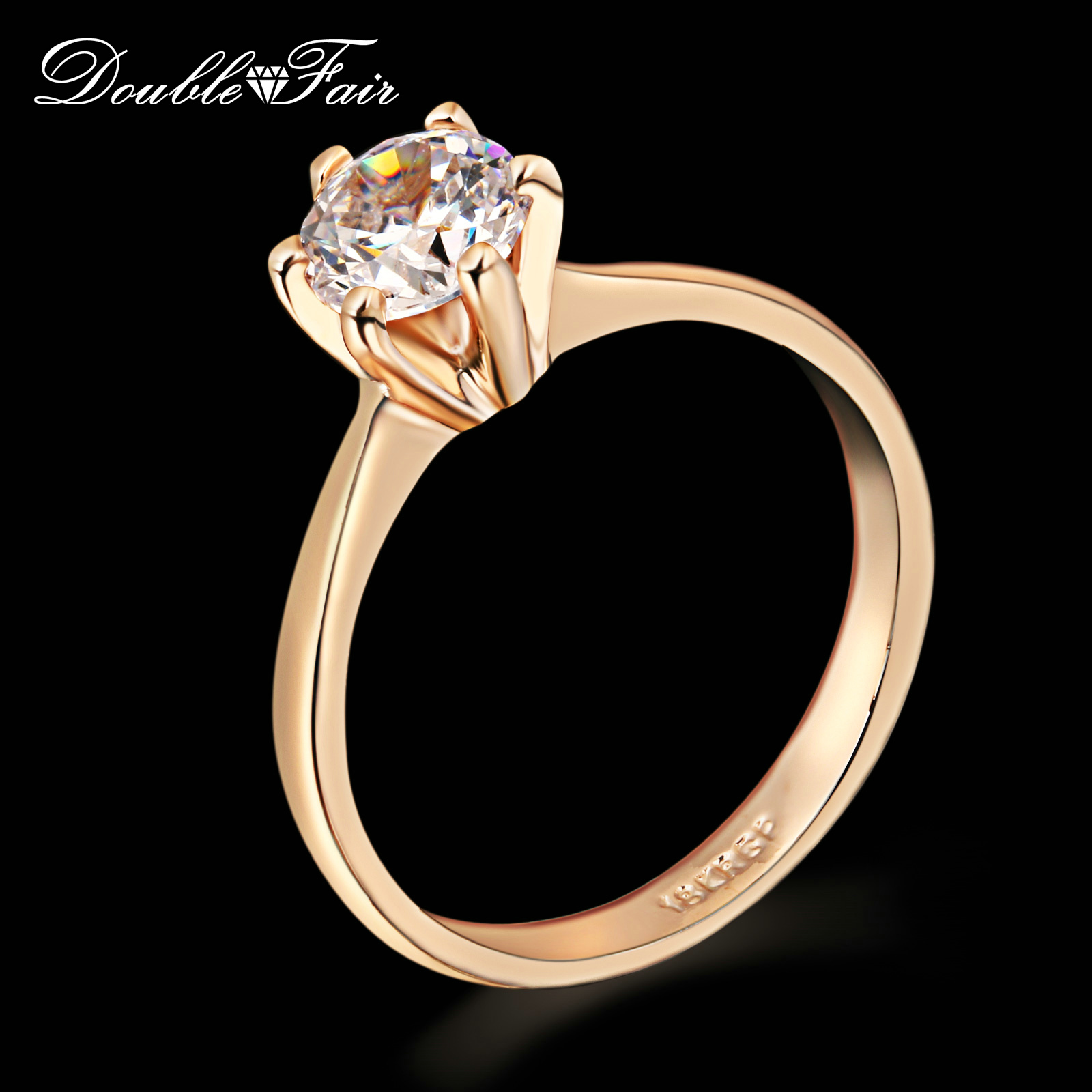 Six Claw 1 Carat CZ Diamond Wedding/Engagement rings Wholesale 18K Silver/Rose Gold Plated Cubic Zircon Jewelry For Women DFR014