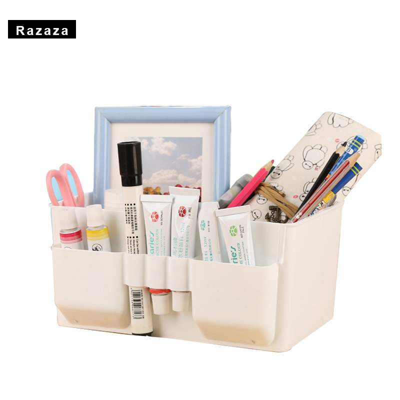 New Candy Plastic Cosmetics Jewelry desktop organizer Office container Makeup Brushes tools Storage Box casket Holder shelf case