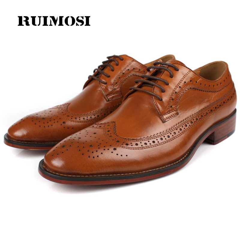 RUIMOSI Vintage Brand Man Dress Shoes Top Quality Genuine Leather Cow Brogue Oxfords Round Toe Lace up Men's Wing Tip Flats BD08