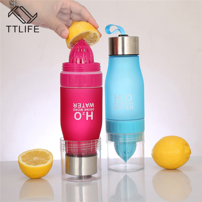 TTLIFE 650ml H20 Lemon Juice Water Bottle Fruit Infusion Bottle Infuser Drink Outdoor Sports Portable Water Kettle Creative Gift