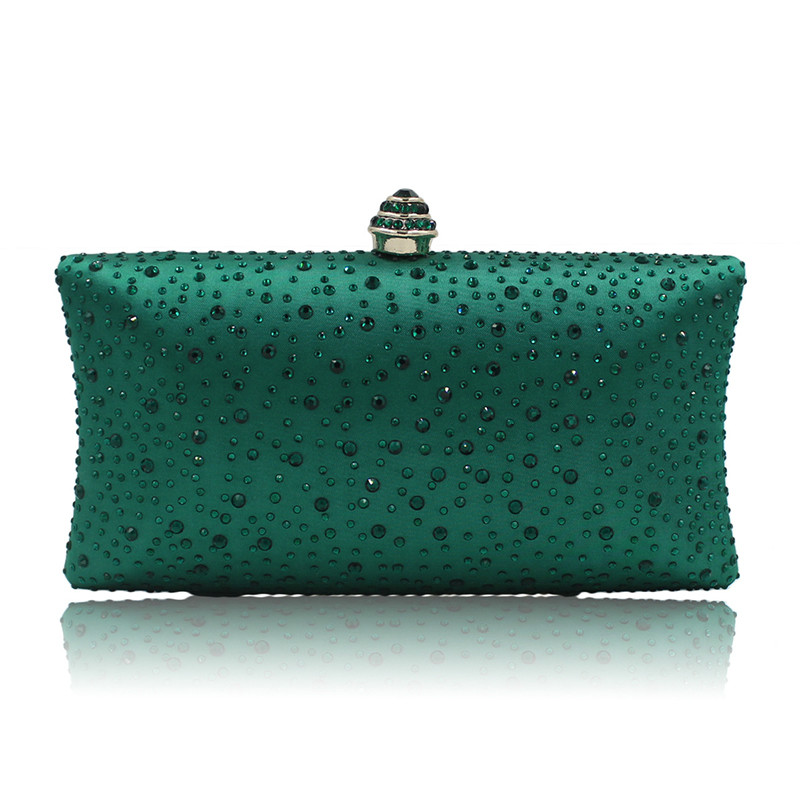 New 2018 Evening Clutch Bag Women High grade Green Satin Clutches Hand Bag pochette soiree mariage