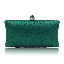 New 2018 Evening Clutch Bag Women High-grade Green Satin Clutches Hand pochette soiree mariage