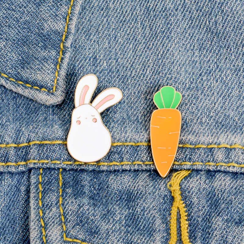 Sitaicery Kreatif Kelinci Putih Bros Lucu Hewan Kelinci Wortel Enamel Pin Logam untuk Wanita Mantel Kemeja Tas Trendi Kerah Lencana