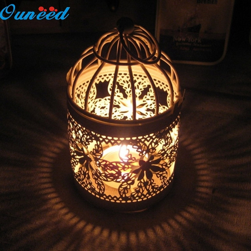Ouneed Happy Home Creative Hollow Hanging Bird Cage Candle Holder Candlestick Lantern Bridal Decor 1 Piece [day and night] iron classic tealight candle holder wall hanging decor ornament