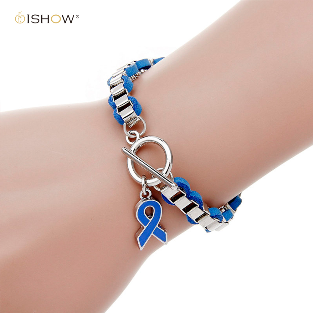 ᗜ LjഃFashion blue braided AIDS prevention braclets for women ...