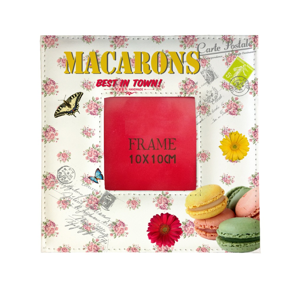 tea time delicous macrons printed unique frame family photo picture frame Rahmen PU leather home decor album card decoration