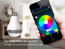 Smart Phone App Controlled LED Light Bulb Bluetooth Speaker Music Player Dimmable Lamp Multi-color Changing Free Shipping