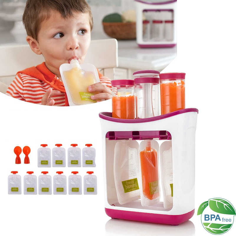 Squeeze Food Station Baby Food Maker Storage Containers Baby Food Organization Set Fruit Puree Packing Machine Solid Food Punche