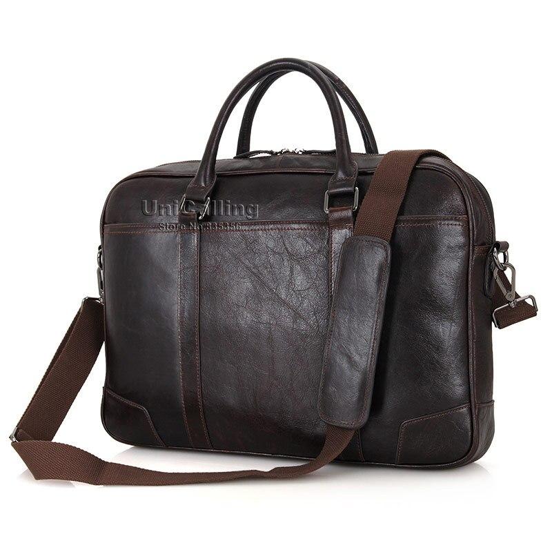 Brand quality leather 15 inch laptop bag vintage chocolate noble real leather men business shoulder bag messenger laptop bag