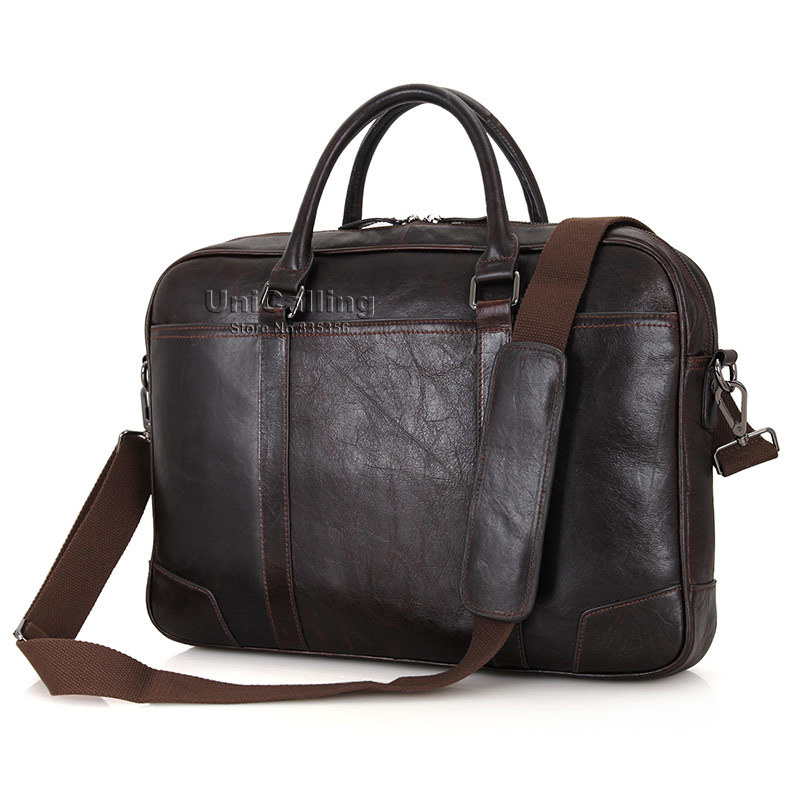 UNICALLING leather 15 inch laptop bag vintage chocolate genuine leather men business shoulder bag messenger laptop bagUNICALLING leather 15 inch laptop bag vintage chocolate genuine leather men business shoulder bag messenger laptop bag