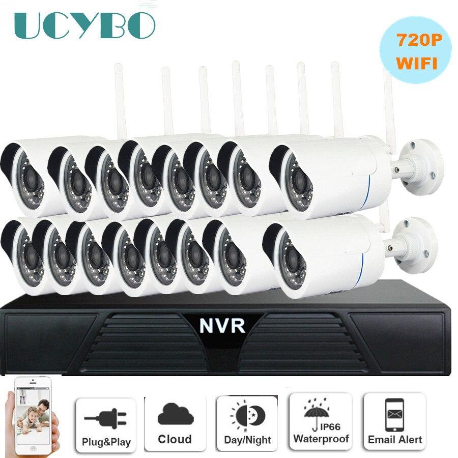 Wireless IP Camera NVR sistema cctv 720 P 16CH wifi esterna impermeabile Della Pallottola del CCTV Telecamere IP IR Cut 1080 P video Sorveglianza kit