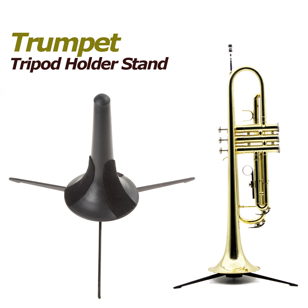 Portable Black Trumpet Tripod Holder Stand With Detachable & Foldable Metal Leg