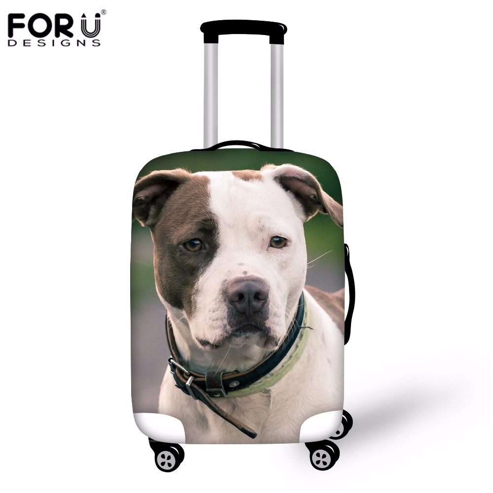 FORUDESIGNS 2019 Travel Suitcase Luggage Protective Cover Cute Bull Terrier Dog Trunk Case Waterproof Cover For 18-30 Inch Cases