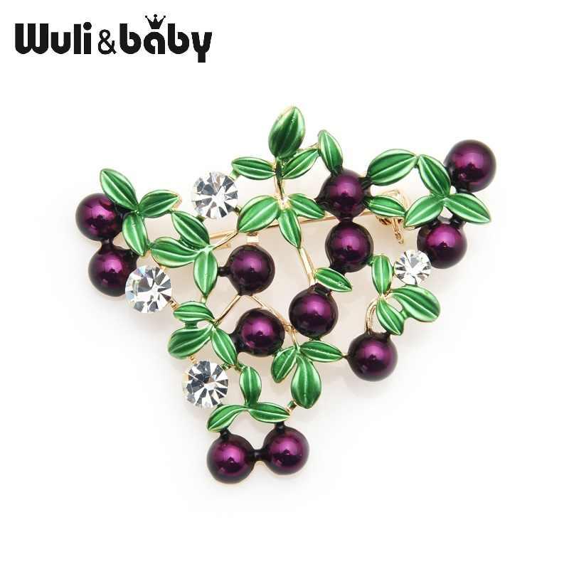 Wuli Bayi Ungu Cranberry Enamel Bros Wanita Cinta Buah Pernikahan Bros Pin
