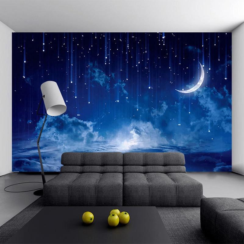 Blue Night Sky Children's Bedroom Backdrop Wall Photo Mural Wallpaper Custom 3D Stereo Landscape Decor Papel De Parede Infantil