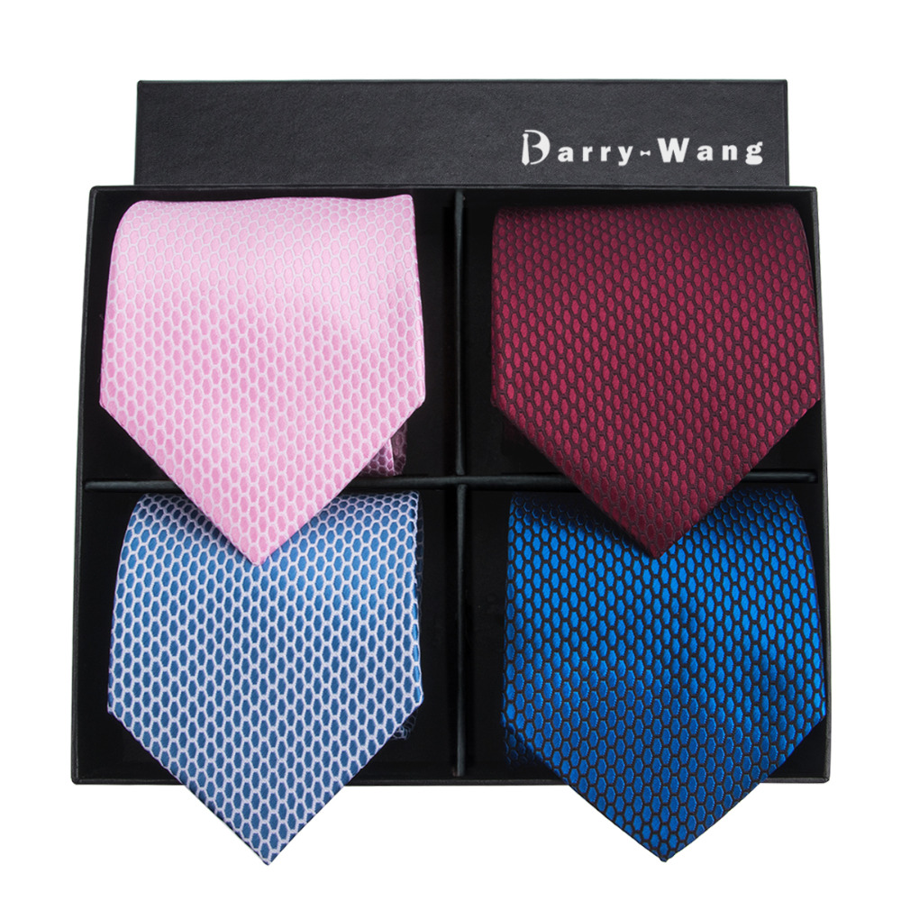 2018 4P-10 Barry.Wang New Men Tie Top Quality Solids Classic Jacquard Woven Necktie Hanky Cufflink Set For Wedding With Gift Box
