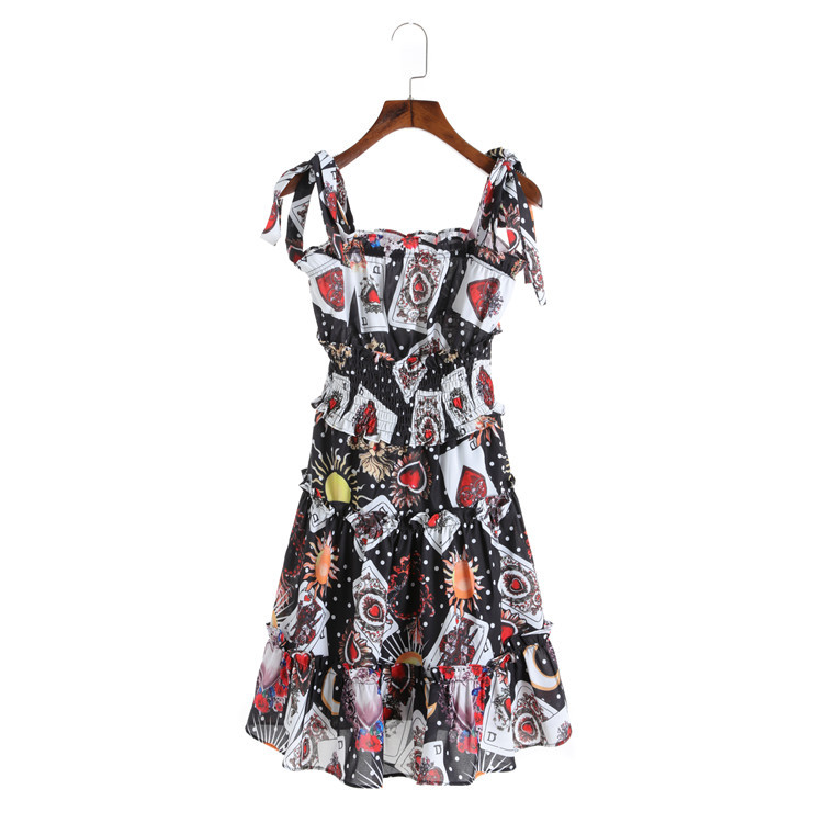 Di Ali Gerba star with a Poker printing short suspenders a A-line skirt ladies temperament dress female F0316