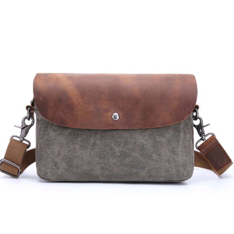 Womens Shoulder Bag Canvas Messenger Bag with Leather Flap Cover Small Mens Shouder BagWomens Shoulder Bag Canvas Messenger Bag with Leather Flap Cover Small Mens Shouder Bag