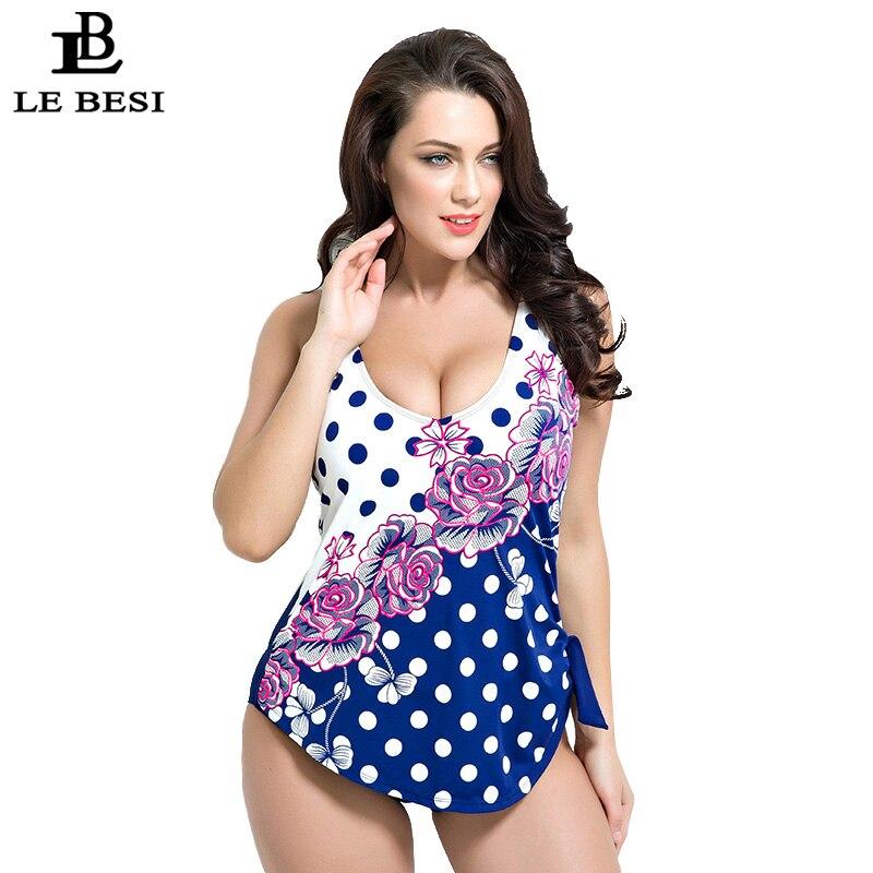 LEBESI One-piece Swimsuit Wire Free Swimwear Women Double-layer Monikini Dot Beachwear Flower Pinted Bathing Suit Plus Size 5XL