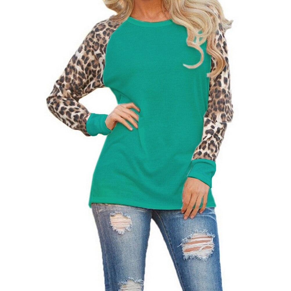 5XL Plus La Taille Chemises Casual O Cou Imprimé Léopard Manches Patchwork  Blouse Tops 2018 Femmes Printemps Automne Vêtements 5 Couleurs LX107 ca8383079db