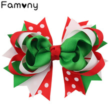 5 Inch Cute Christmas Festival Hair Bow Colorful Printed Fine Hairclips Grosgrain Ribbon Hairbow For Baby Party Accessories
