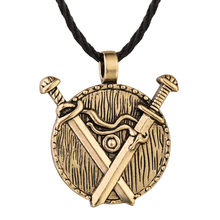 QIAMNI Punk Slavic Double Sword Round Pendant Necklace Men Amulet Nordic Viking Jewelry Birthday Gift Friendship Charm(China)