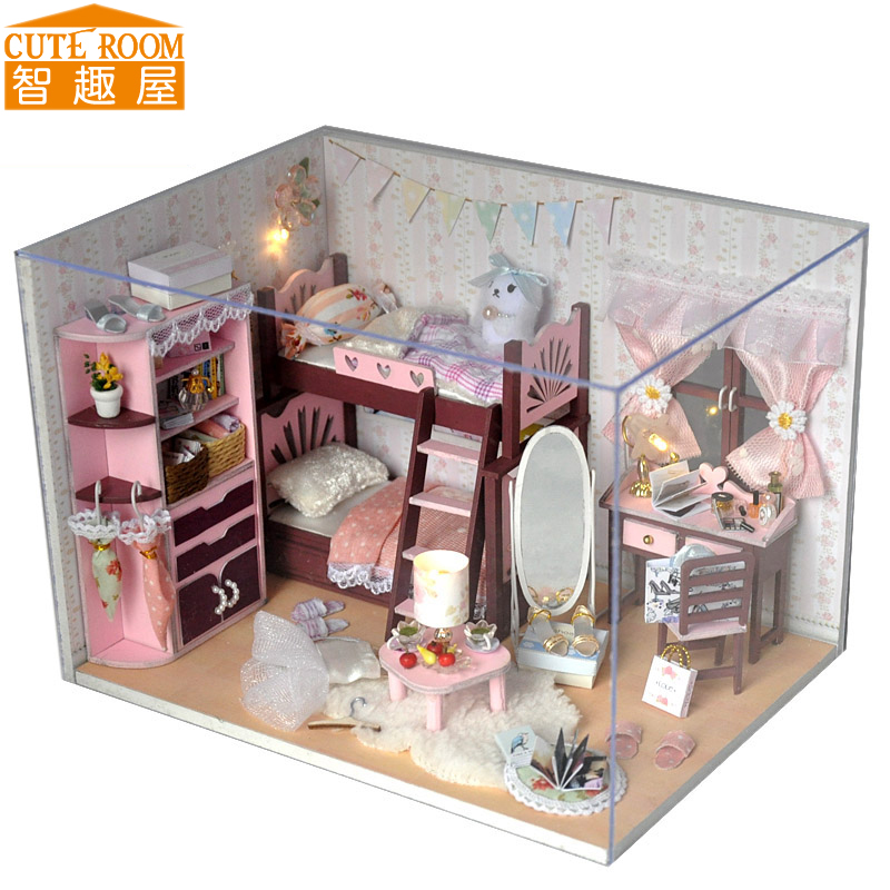 Assemble DIY Doll House Toy Wooden Miniatura