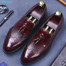 QYFCIOUFU Formal Man Tassel Dress Office Shoes Genuine Leather Designer Oxfords Luxury Brand Comfortable Men's Handmade Footwear
