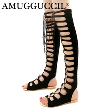 2019 New Plus Big Size 32-46 Black Brown Beige Lace Up Fashion Sexy Lady Female Women Girls Summer Flats Gladiator Sandals L987