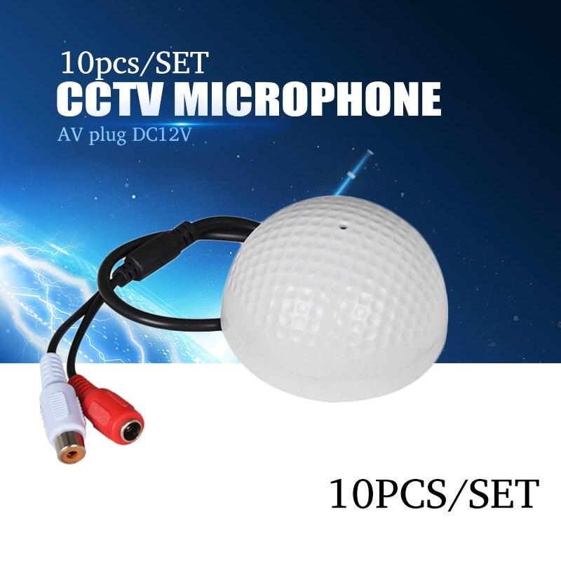 YiiSPO 10PCS set CCTV Microphone Golf Shape audio Pickup Device High Sensitivity 12V DC sound Monitor