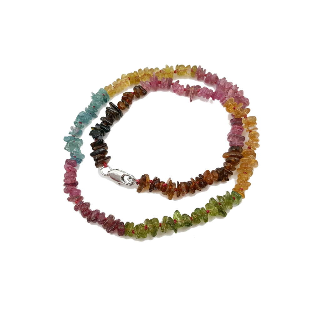 Natural Stone 2 Row Natrual Rainbow Tourmalines 4-7mm 925 sterling silver Bracelet 35cm/14