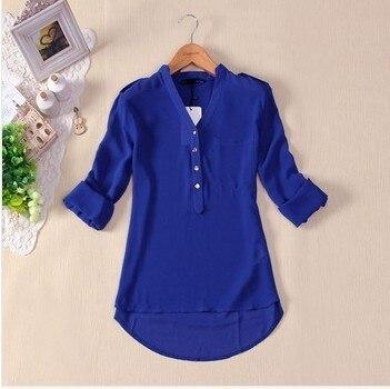 Spring Autumn White Black Blue Formal Casual Blouse Botton Top Long Sleeve Shirt Streetwear Blusas Feminino Kimono Women Blouses