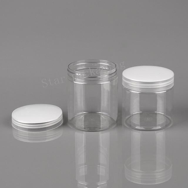 20pcs 200g 250g clear pet jar with aluminum lid plastic lid