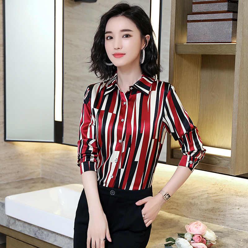 8adfff9dde0 Женские рубашки из натурального шелка вязаные с длинным рукавом Блузы OL  Большие женские рубашки удобные дышащие