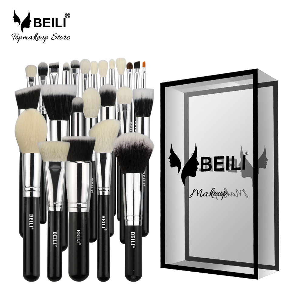 BEILI Black Complete Professional 25pcs Foundation Synthetic hair Powder Contour Goat hair Eye shadow Blending Makeup Brush set