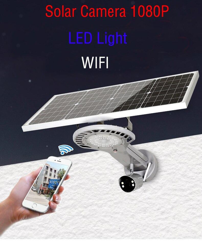 Yobang sécurité étanche extérieure 1080 P 2.0 M batterie solaire Surveillance de sécurité WIFI caméra IP avec lampe de lumière LED PIR