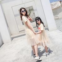 Mother and Daughter Dress Summer 2018 New Fashion Mesh Style Mom and Daughter Dress Family Matching Outfits girls Pajamas