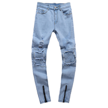 Hip Hop Jeans Men Hole Cowboy Foot Zipper Fashion Denim Joggers Destroyed Ripped Mens Jeans Plus Size Skinny Denim Jeans цена 2017