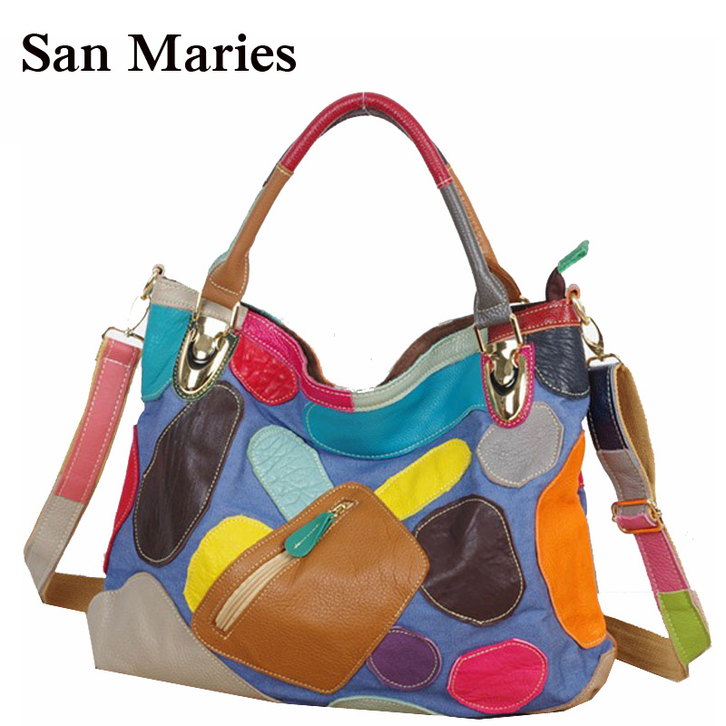 New Fashion 100 Genuine Leather Jean Tote Bags Patchwork Colorful Handbags Women Messenger Bag With Pocket