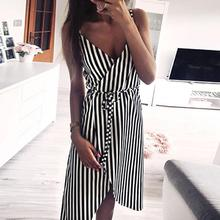 dress Women Stripe Printing Sleeveless Off Shoulder Dress Evening Party Vest Empire Sashes women 2018AUG1